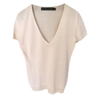 Ralph Lauren Black Label Ivory Silk Knit Top