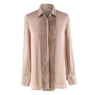 Loro Piana Beige Silk Satin Pleated Shirt