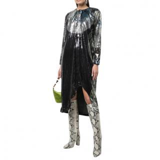 Ganni Sequin Embellished Draped Midi Dress