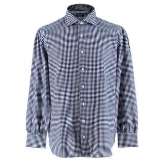 D'avino Blue Vichy Check Cotton Flannel Shirt