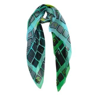 Chanel Green CC Logo Keyboard Print Silk Scarf