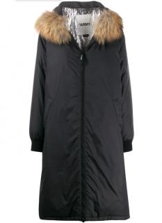 Yves Salomon Army Oversized Parka Coat In Black