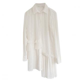 McQ by Alexander McQueen Sheer Polka Dot Asymmetric Shirt Dress