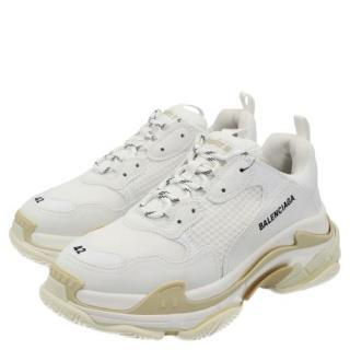 Balenciaga White/Beige Triple S Sneakers