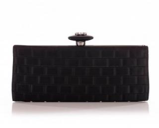Chanel Black Satin Woven Clutch