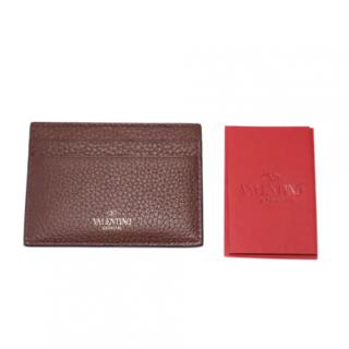 Valentino Grained Leather Brown Rockstud Card Holder