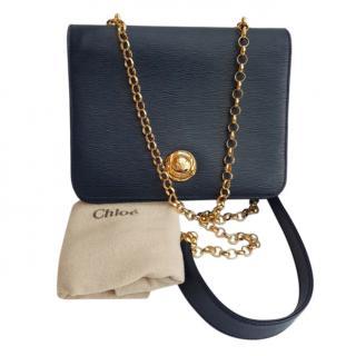 Chloe Blue Epi Leather Shoulder Bag