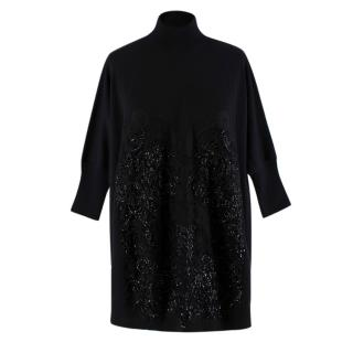 Givenchy Black Wool Beaded Bustier Oversized Knit Sweater
