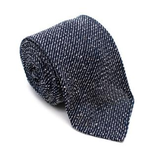 Drakes Blue Textured Cotton & Silk Blend Handmade Tie