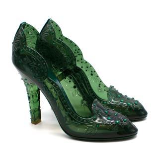 Dolce & Gabbana Green PVC Crystal Embellished Bette Pumps