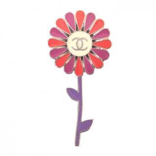 Chanel Pink, Purple & Red Enamel Flower Pin Brooch