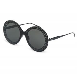 Alaia Black Arabesque Round Sunglasses