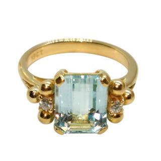 Bespoke 18ct Yellow Gold Diamond & Aquamarine Ring