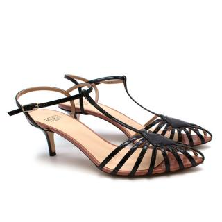 Francesco Russo Black Patent Leather Strappy Kitten Heel Sandals