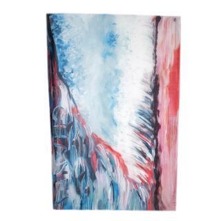 Chanel Blue & Pink Brushstroke Print Silk & Cashmere Stole