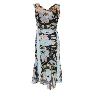 Moschino Floral Print Silk Chiffon Vintage Dress