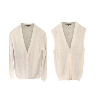 Loro Piana Off-White Cashmere & Silk Twinset