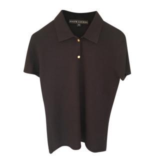 Ralph Lauren Black Label Cashmere & Silk Knit Polo Top