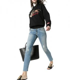 Givenchy Blue Distressed Slim Ankle Crop Jeans