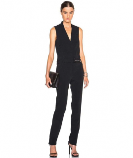 Mugler Black Sleeveless Stretch Crepe Jumpsuit