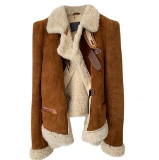 Wunderkind Tan Suede Shearling Jacket