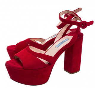 Prada Red Chunky Platform Suede Sandals