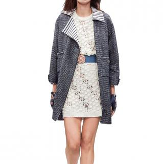 Chanel Blue & White Contrast Collar Double Zip Coat