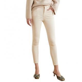 J Brand Cream Alana Cropped High-Rise Skinny Jeans