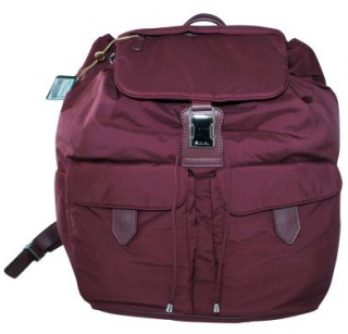 Loro Piana Nylon Drawstring Burgundy Voyager Backpack