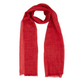 Anderson & Sheppard Red & White Spotted Cotton Scarf