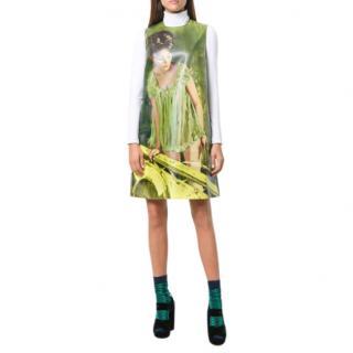 Prada Green Pin-Up Print Shift Dress