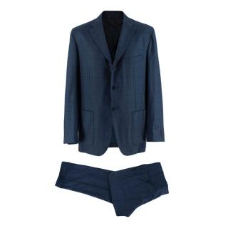 Kiton Napoli Blue Checkered Wool Single Breasted Suit