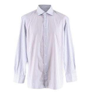 Emanuele Maffeis Blue/White Cotton Striped Tailored Shirt