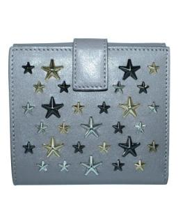 Jimmy Choo Grey Leather Studded Compact Wallet