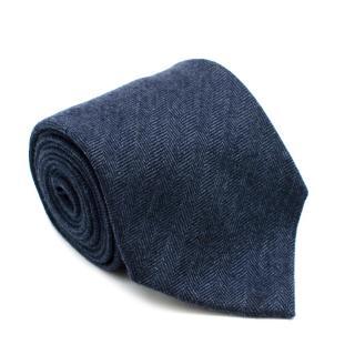Loro Piana Blue Cashmere Handmade Tie