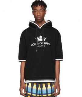 Dolce & Gabbana Black Logo Short Sleeve Hoodie