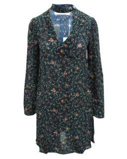 Zimmermann Navy Floral Dress with Neck Tie