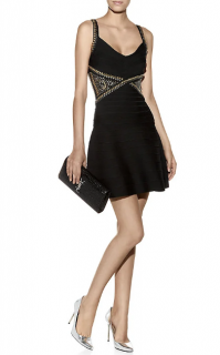 Herve Leger Black Ayia Studded Bandage Dress
