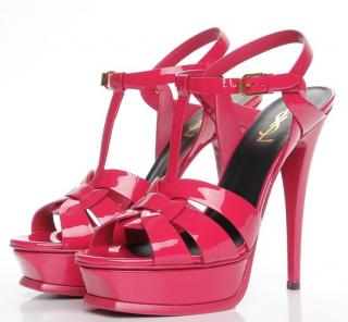 Saint Laurent Pink Patent Leather Tribute Sandals