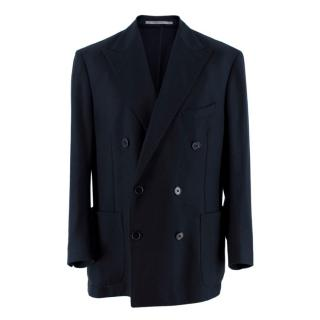 Doriani Navy Wool Knit Double-Breasted Tailored Jacket