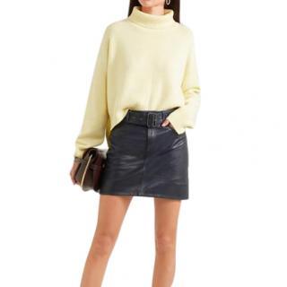 Victoria, Victoria Beckham Navy Leather Belted Mini Skirt