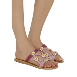 Fabrizio Viti x Ancient Greek Sandals Lilac Daisy Applique Sandals