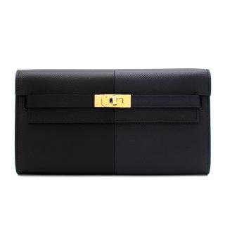 Hermes Epsom Leather Bleu Indigo/Frida/Noir Kelly To Go Wallet GHW
