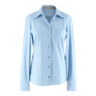 Michael Kors Blue Cotton Blend Long Sleeve Button-Up Blouse