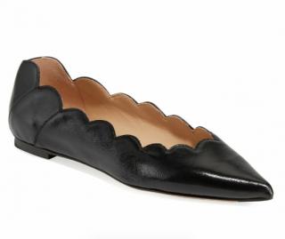 Chloe Black Glossy Leather Scalloped Ballerinas