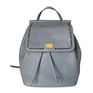 Dolce & Gabbana Blue Grained Leather Sicily Backpack