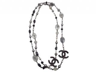 Chanel Silver Tone Beaded Faux Pearl Crystal Chain Necklace