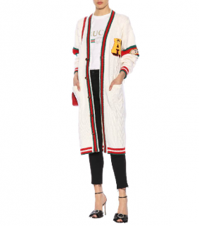 Gucci Embroidered Chunky Cable Knit Cardigan In 9169 White