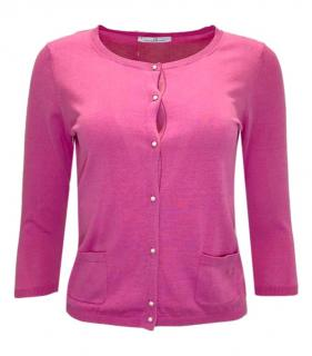 Carolina Herrera Pink Silk Faux Pearl Button Cardigan