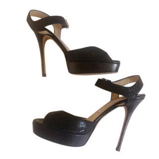 Jimmy Choo Black Platform Metallic Sandals